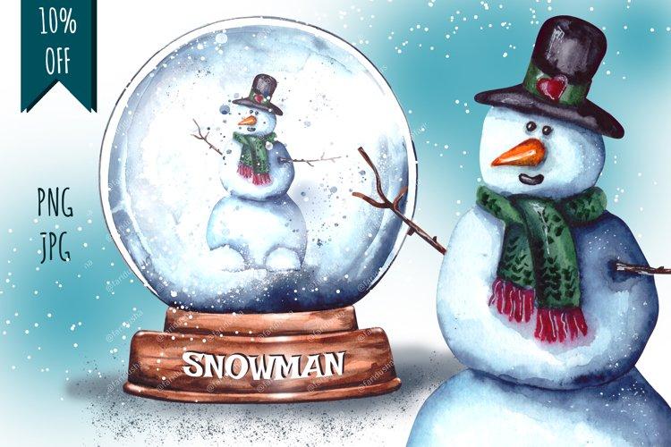 Christmas Snow Globe Snowman Sublimation Watercolor set example image 1