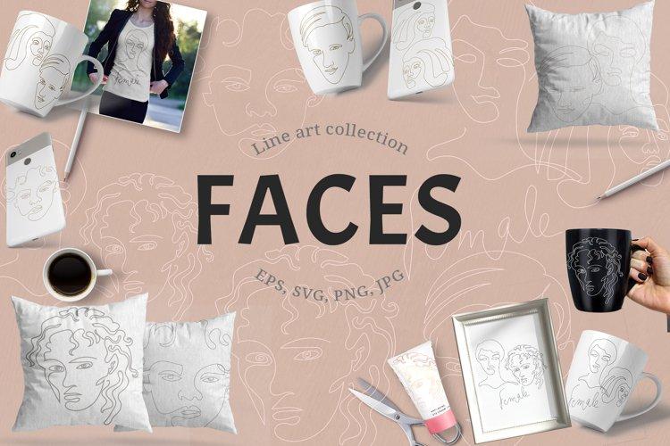 Bundle of line art faces