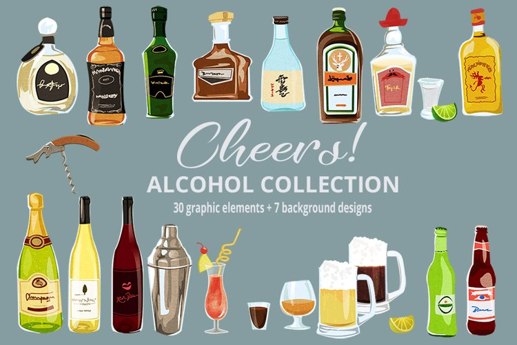 Cheers! Alcohol & Cocktails Clipart & Digital Paper Patterns example image 1