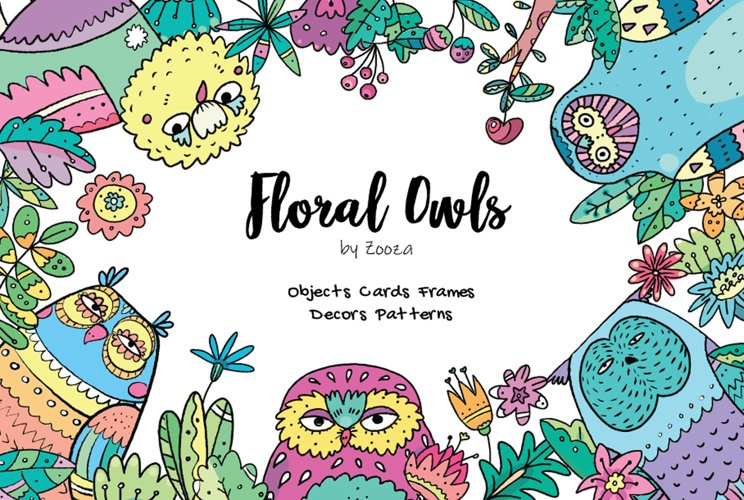 Floral Owls - 55 objects example image 1