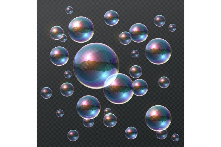 Transparent soap bubble. Realistic colorful 3D bubbles, rain example image 1
