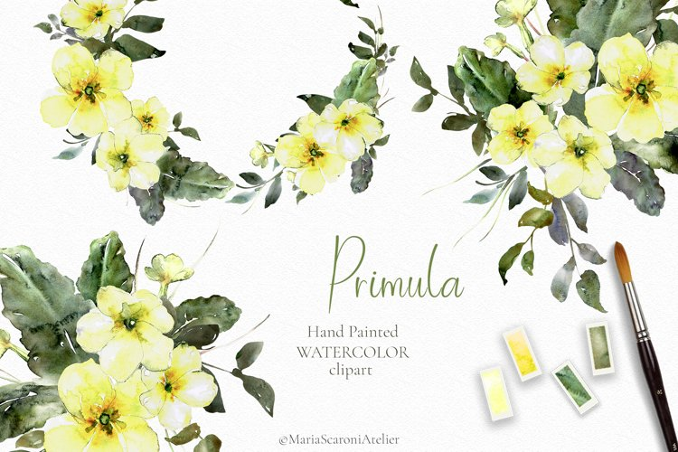 Yellow Spring Watercolor Flowers Clipart