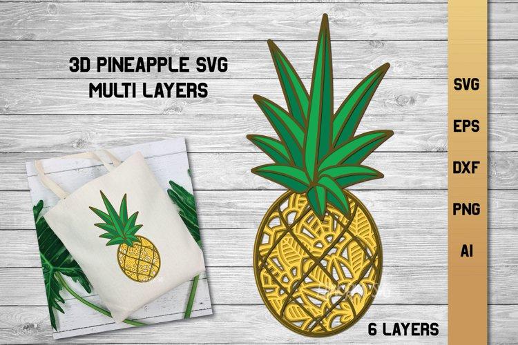 Pineapple SVG | 3d Layered Summer SVG | Cut File