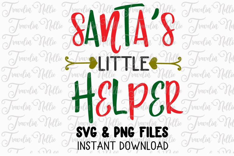 Santa's Little Helper Svg Christmas Winter Holiday Cut File example image 1
