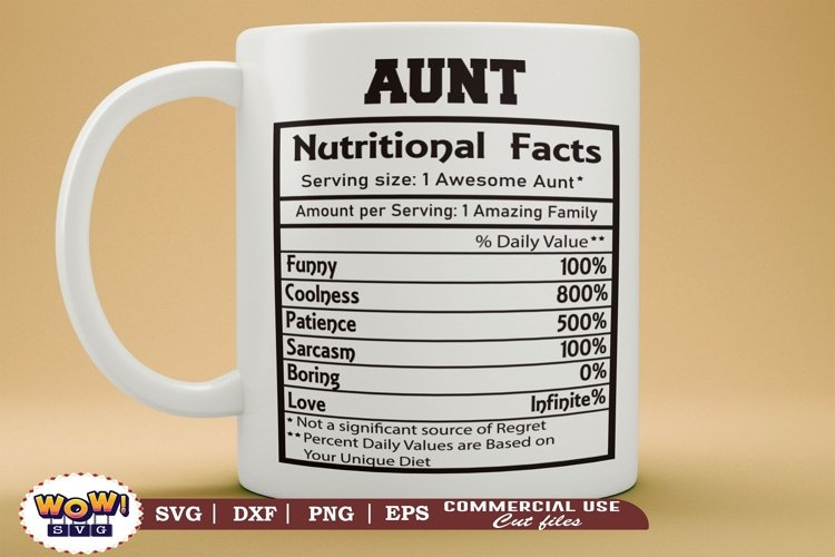Aunty nutrition facts svg, Aunt nutrition facts svg