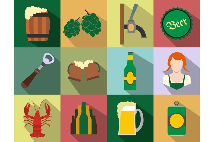 Beer flat icons set example image 1