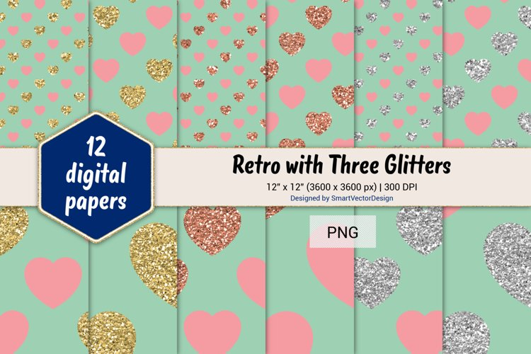 Hearts Retro with Three Glitters Color Combo #27 example image 1