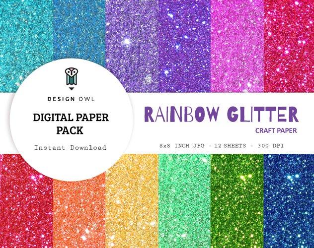 Rainbow glitter - Digital paper pack