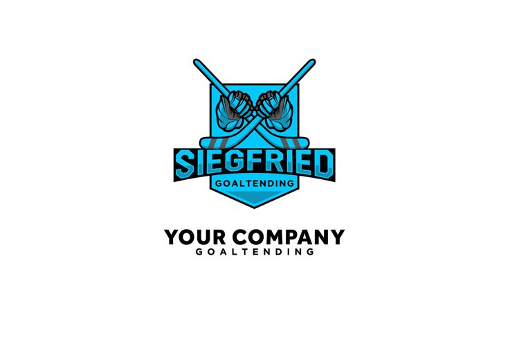 hockey sport logo designs with blue gloves esports shield example image 1