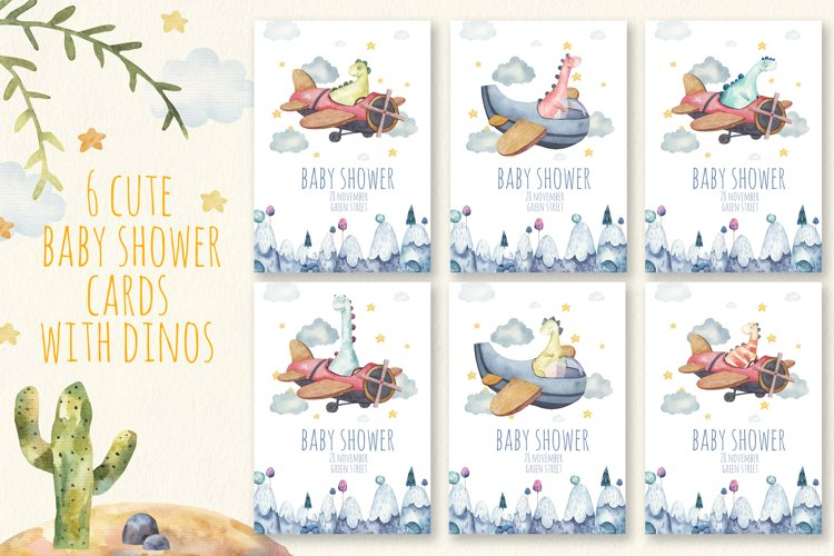 Dinosaurs birthday baby shower cards in traced vector eps cc