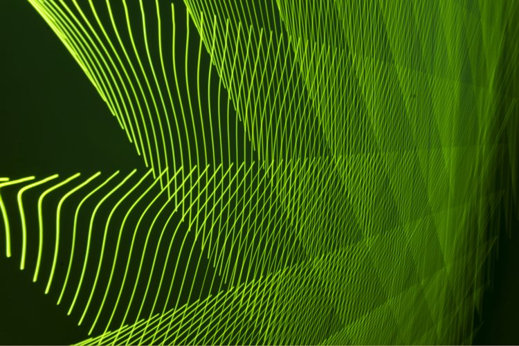 Abstract long exposure blurred green light lines example image 1