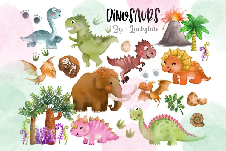 Cute Dinosaurs Clipart. example image 1