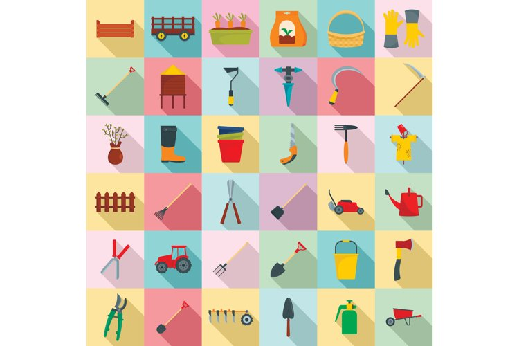 Farming equipment garden icons set, flat style example image 1