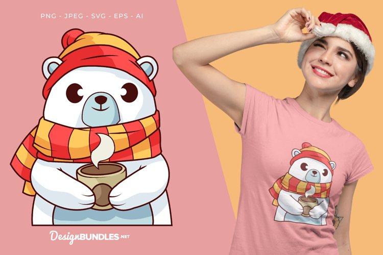 Polar Bear Holds Hot Coffee Vector Illustration For T-Shirt