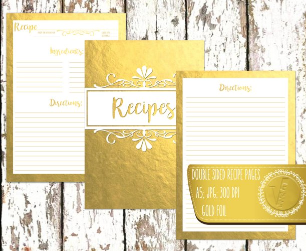 Recipe Book Recipe Pages Recipe Book Cover Gold Foil Double Sided A5 Kitchen Calligraphy JPG High Quality 300 DPI A5