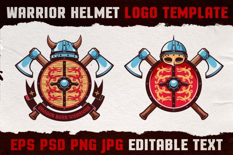Warrior Viking Helmet Logo Template example image 1
