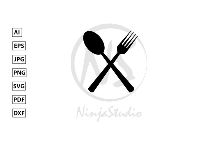 Spoon & Fork Icon In Flat Style Vector example image 1