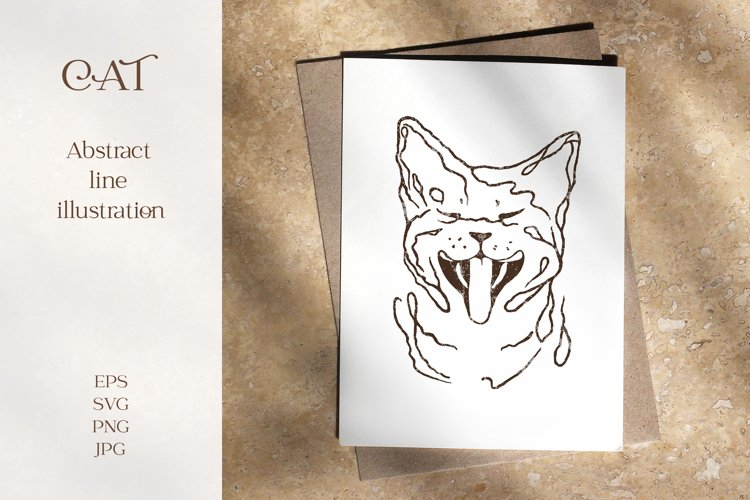 Funny cat abstract line vector art example image 1