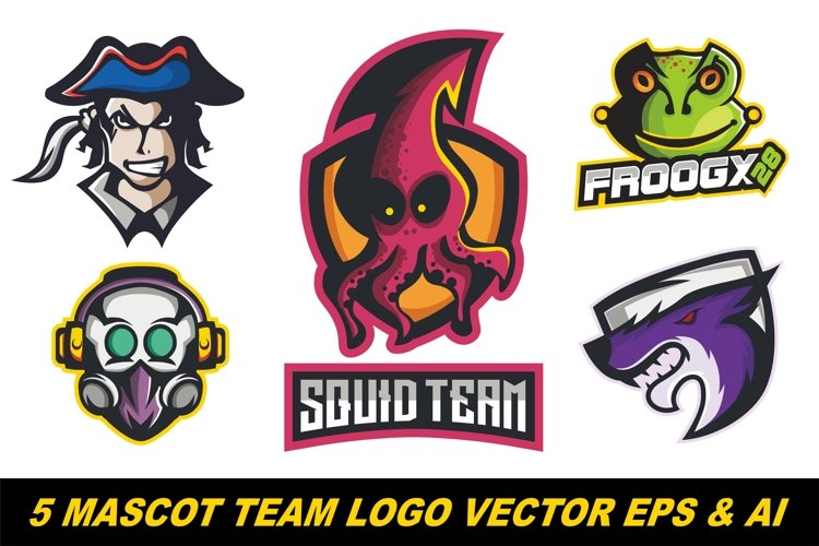 5 Mascot logo team vector illustration example image 1