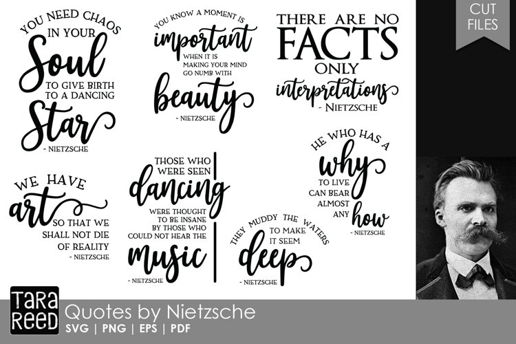 Friedrich Nietzsche Quotes - Quote SVG and Cut Files example image 1