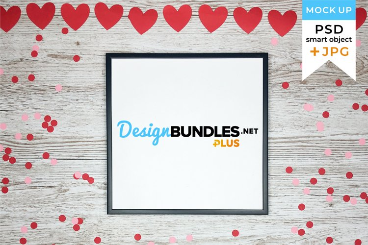 Valentine's Day Frame Mockup | JPG and PSD smart object example image 1