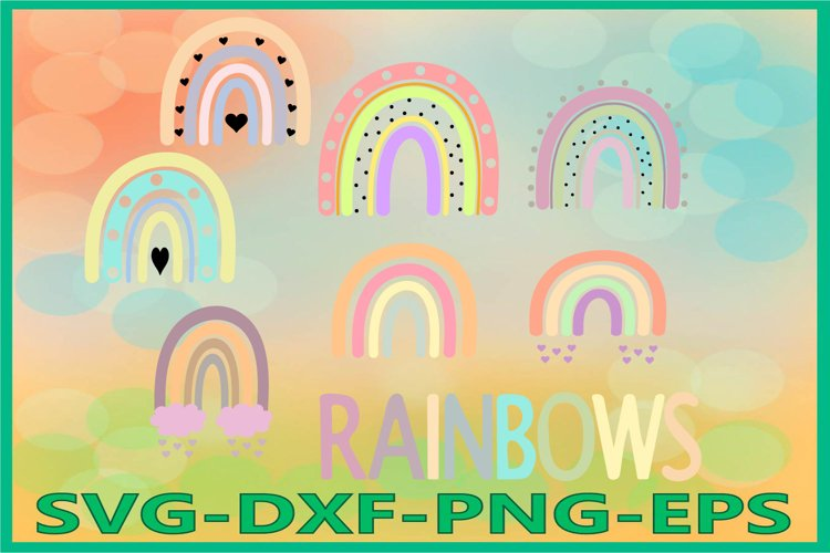 Rainbows SVG PNG EPS DXF Files, Cutting Printing File
