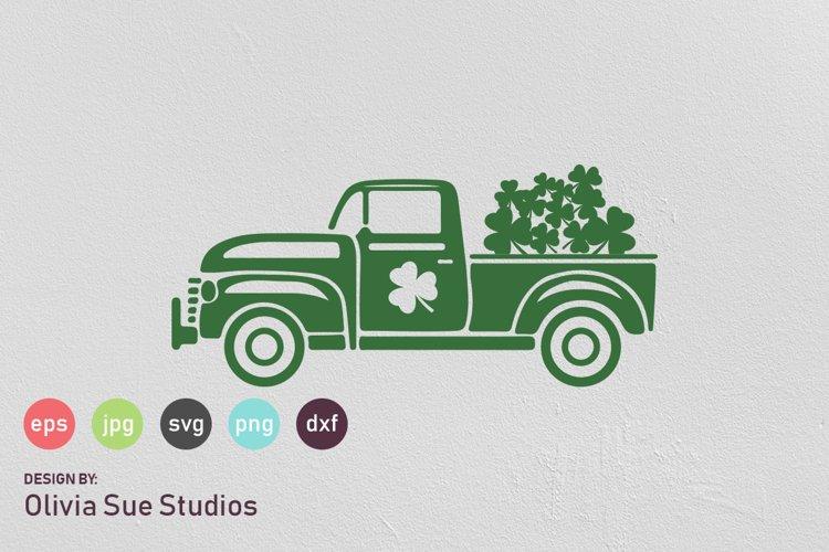 St Patricks Day Vintage Old Truck SVG Cut File example image 1