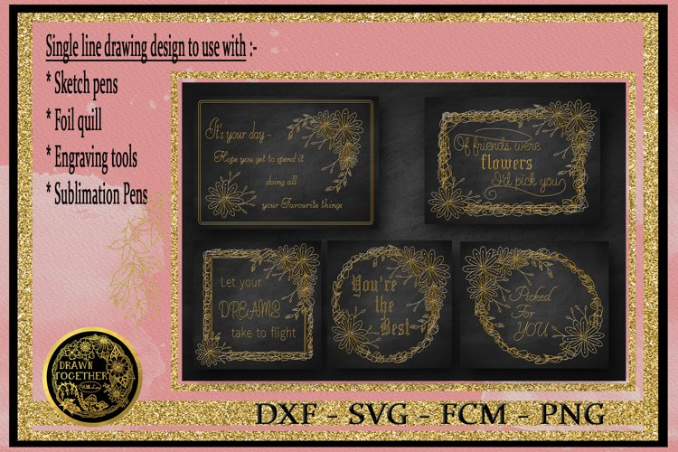 Floral Scribble Frames - Single line Designs  Foil Quill example image 1