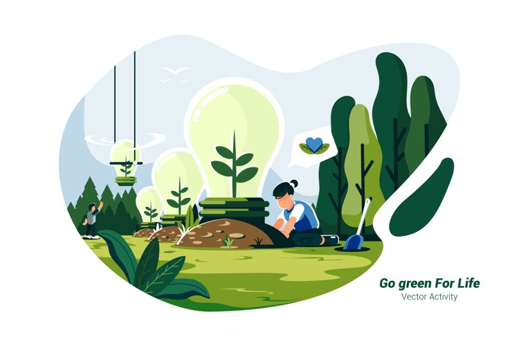 Go green For Life - Vector Illustration