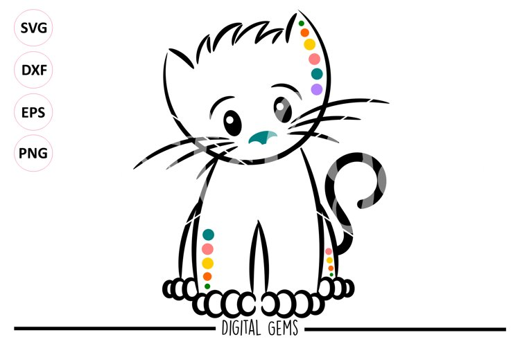 Kitten, Cat SVG / EPS / DXF / PNG files example image 1