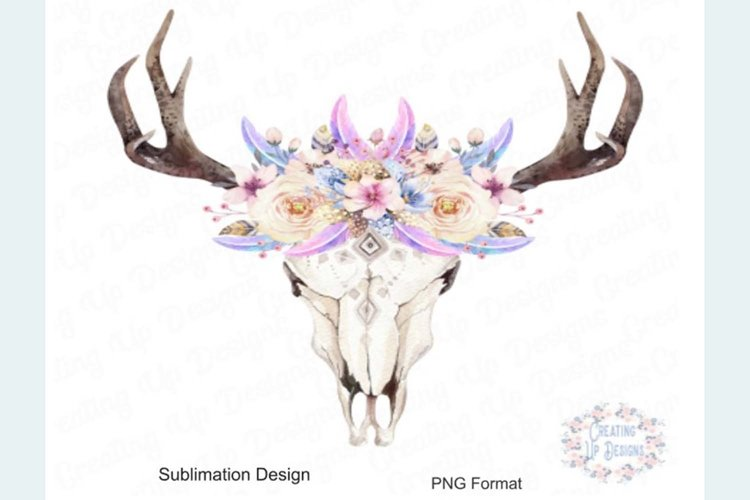 Boho Cow Skull With Flowers PNG example image 1