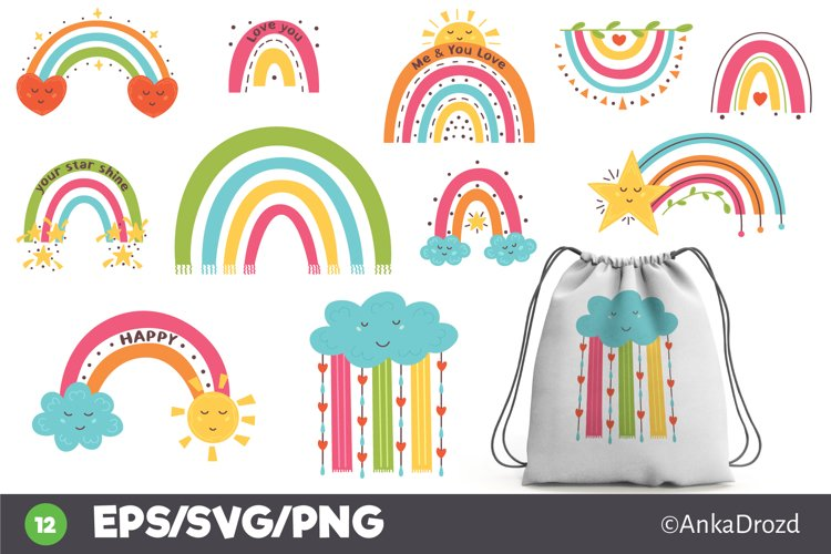 Set Colorful Rainbow clipart png, svg. Happy Baby Rainbow example image 1