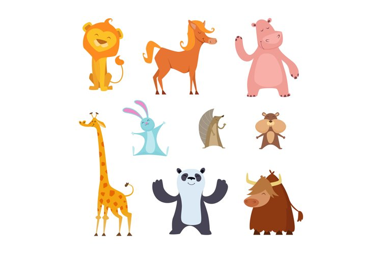 Exotic wild animals in cartoon style example image 1