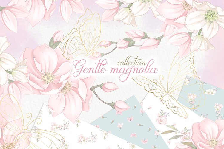 Magnolia flowers wedding Clipart PNG download. Spring floral