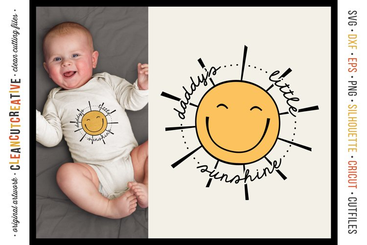 Daddy's Little Sunshine cute round SVG craft file with sun example image 1