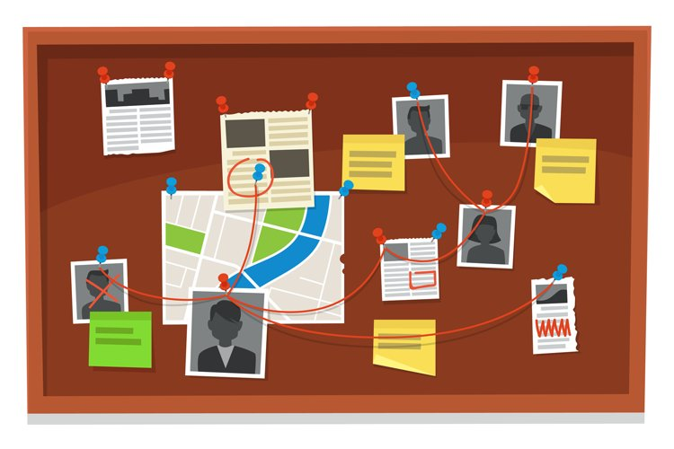 Detective board. Crime evidence connections chart, pinned ne example image 1