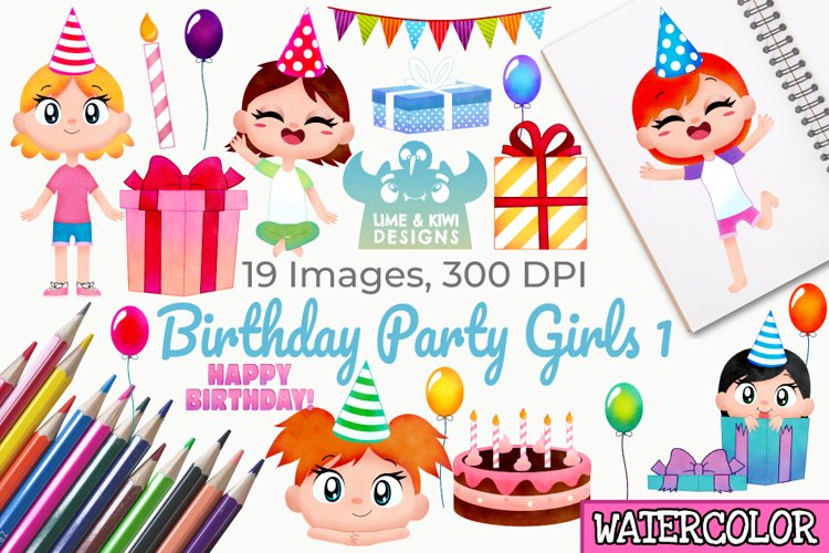 Birthday Party Girls 1 Watercolor Clipart, Instant Download example image 1