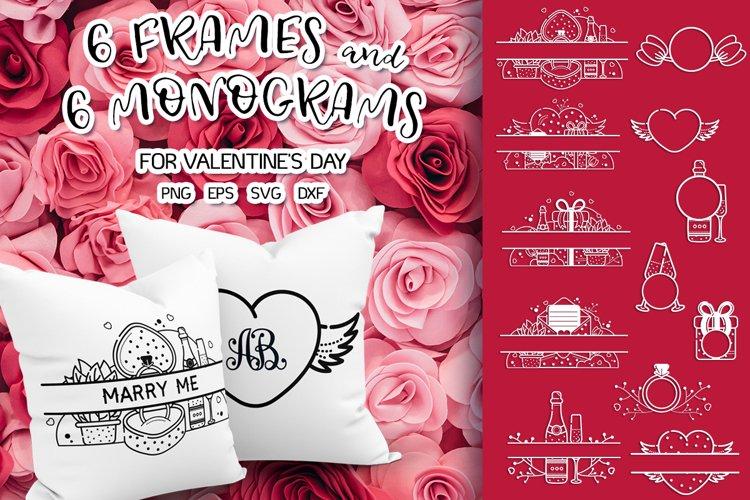 Frames and monograms valentines day bundle svg