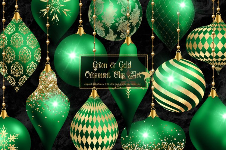 Green and Gold Christmas Ornaments Clipart