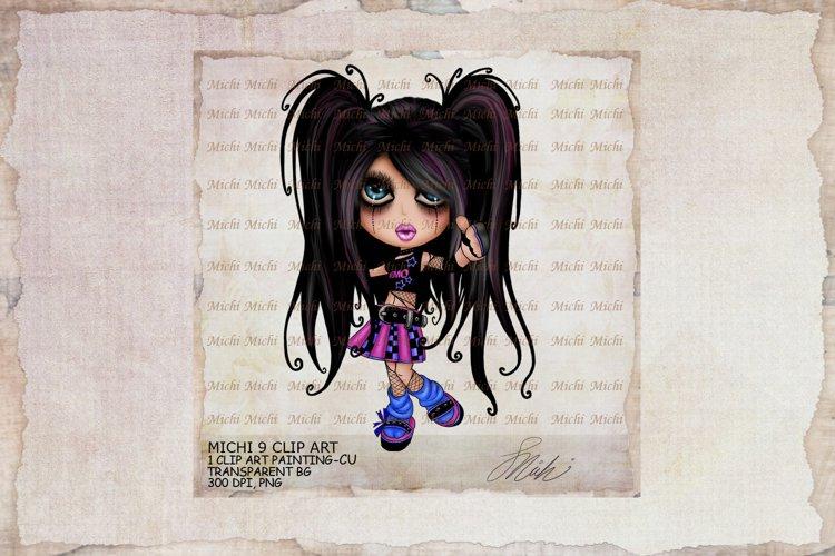 Michi 9 Cute Gothic Emo Girl Clip Art
