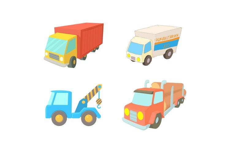 Truck icon set, cartoon style example image 1