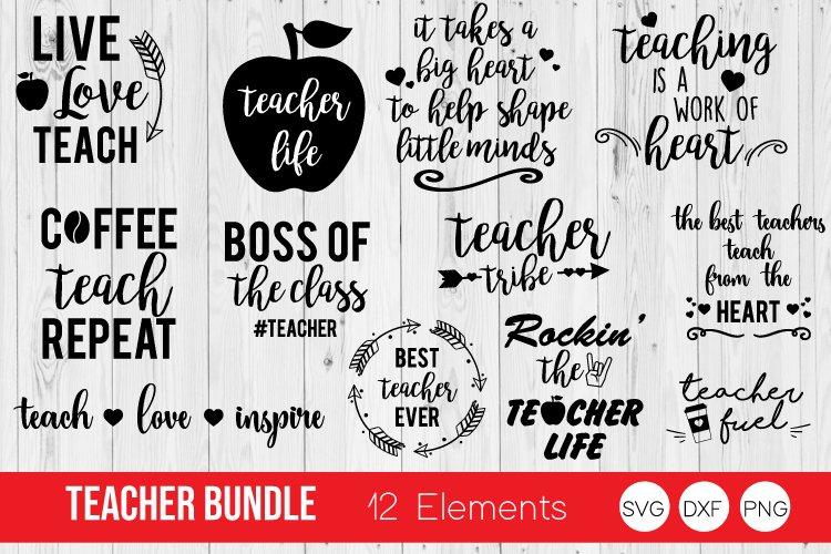 Teacher Bundle SVG, Teacher Quotes SVG,DXF, PNG Cut Files example image 1