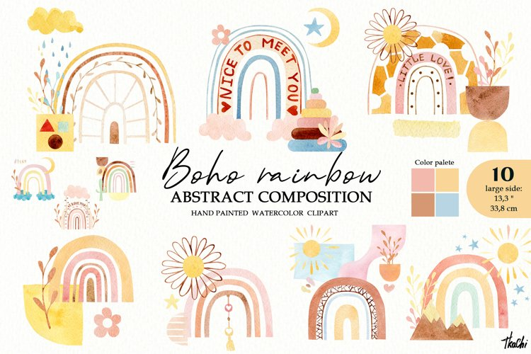 Watercolor boho rainbow clipart. Baby shower lipart. png example image 1