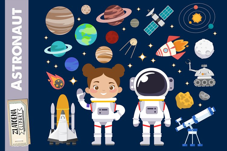 Astronaut clipart Outer Space graphics Rocket Ship clipart
