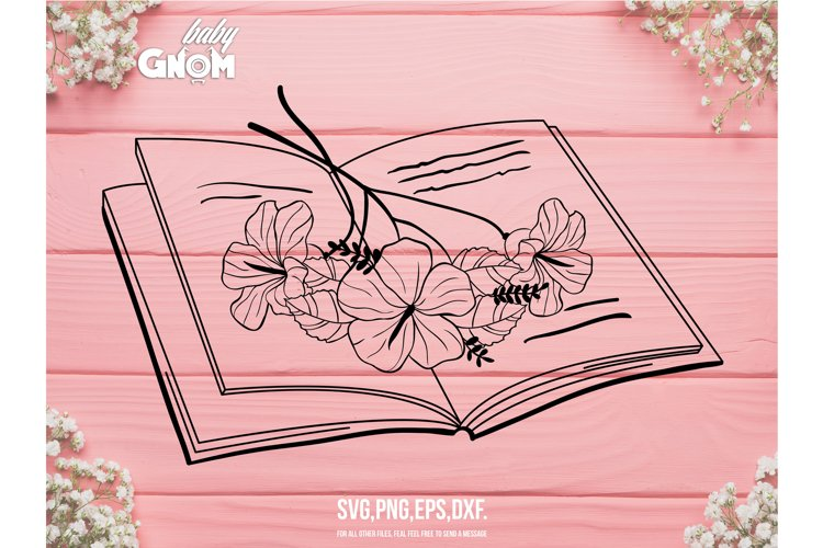 Floral Book Svg, Book lover svg, Book with flowers svg, Book example image 1