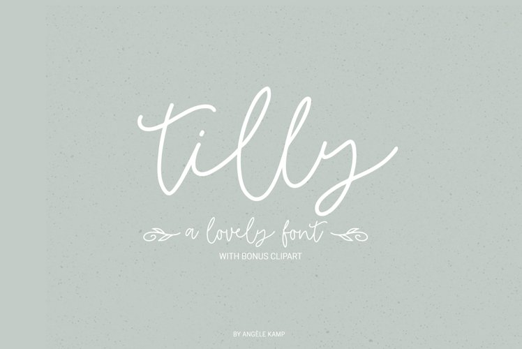 Tilly, a lovely, whimsical, wedding font with bonus clipart example image 1