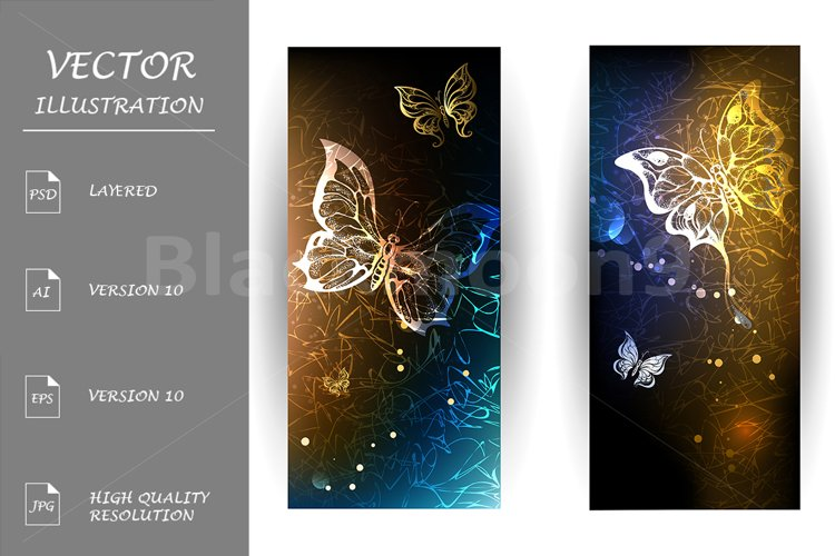 Two Banners with Glowing Butterflies example image 1