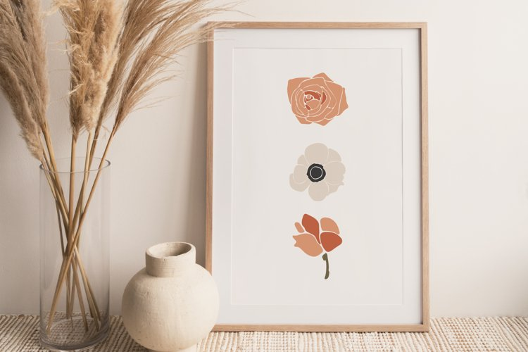 Boho Flower Wall Art, Boho Flowers Set, Flower Wall Print example image 1