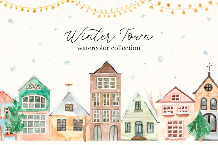 Winter Town. Watercolor Collection. Merry Christmas example image 1