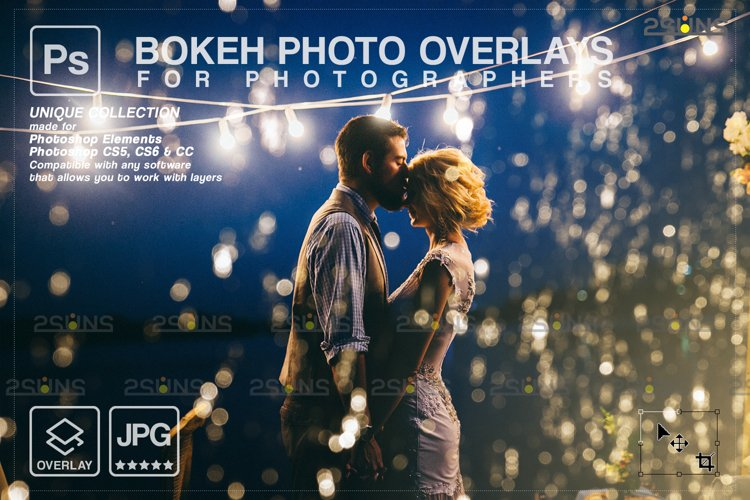 Christmas string light overlay, Fairy bokeh overlay example image 1